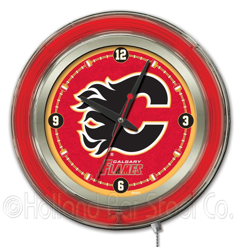 Chin Up Bar Calgary: Calgary Flames 15 Inch Neon Clock