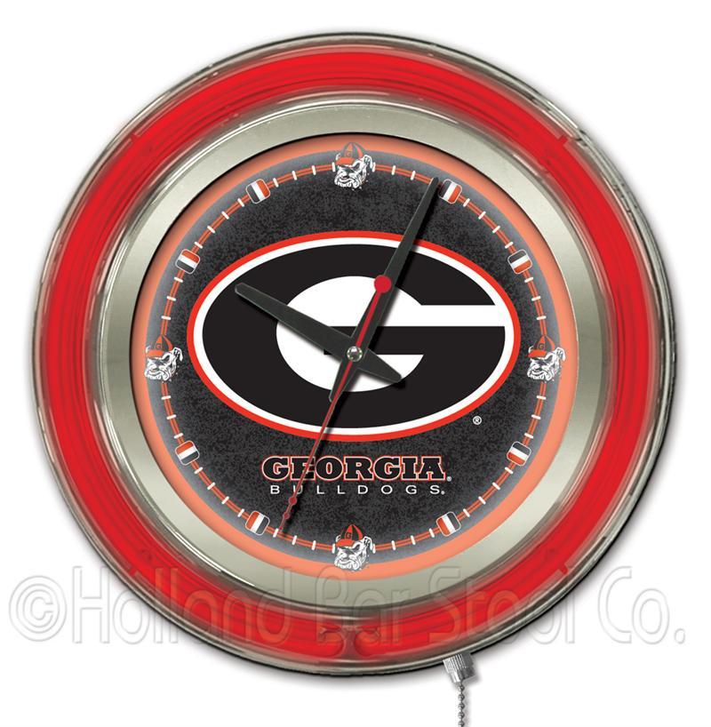 Georgia Bulldogs Letter G Logo 15 Inch Neon Clock