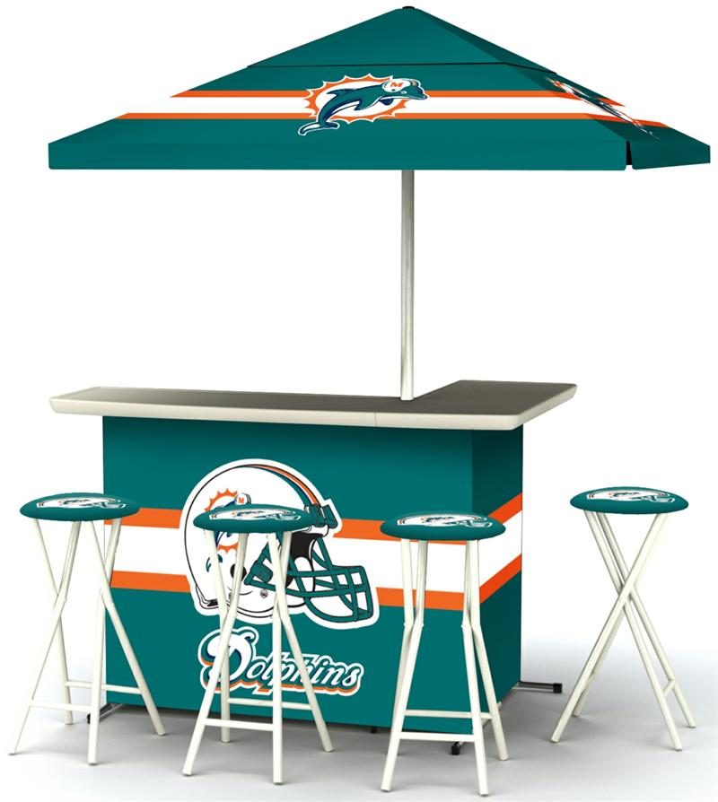 Miami Dolphins Deluxe Portable Tailgate Bar Set