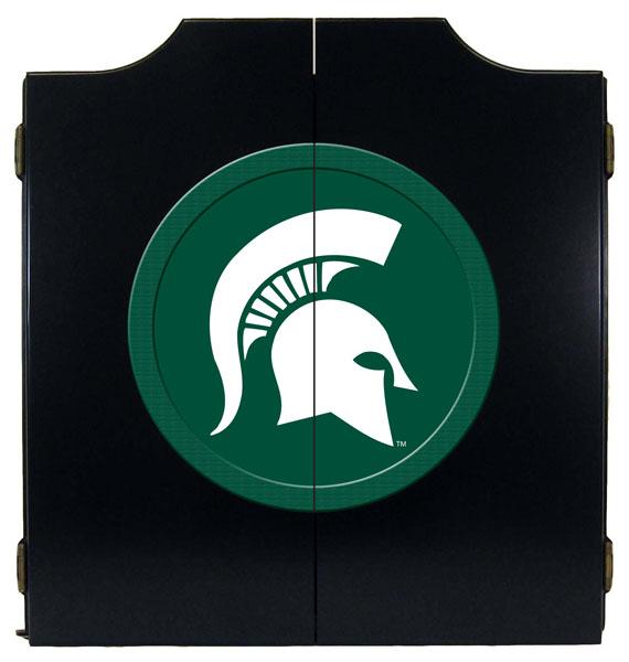 Michigan State Spartans Helmet Logo Black Dart Board Cabinet