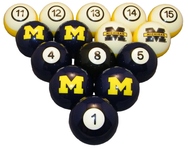Michigan Wolverines Numbered Pool Balls