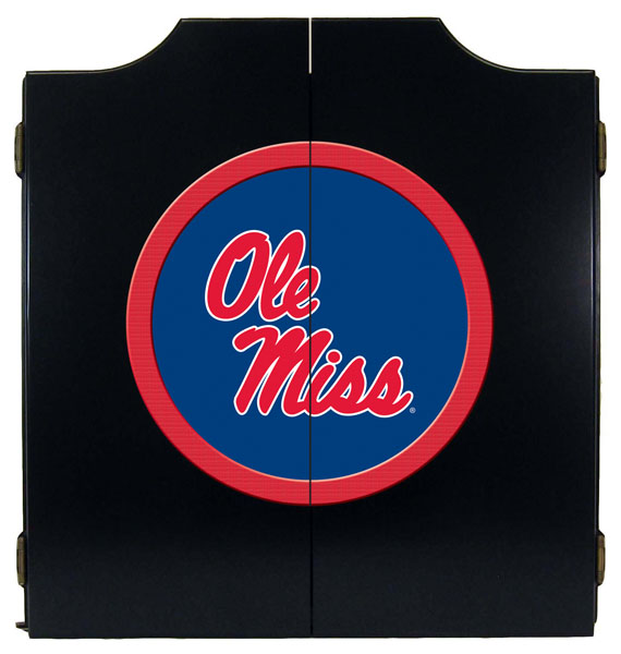 Ole Miss Rebels Black Dart Board Cabinet