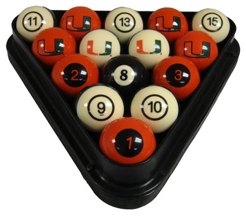 Miami Hurricanes Numbered Pool Balls