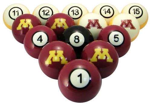 Minnesota Golden Gophers Numbered Pool Balls