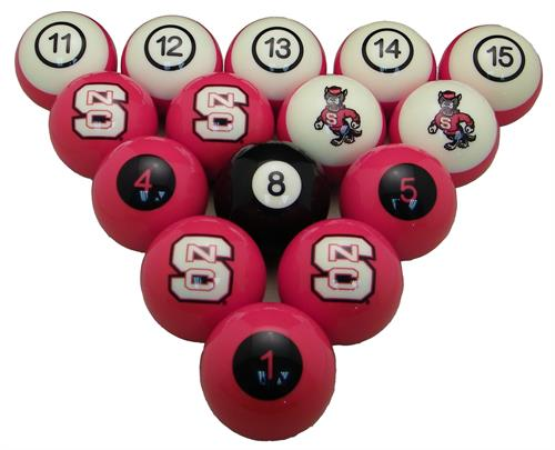 North Carolina State Wolfpack Numbered Pool Balls