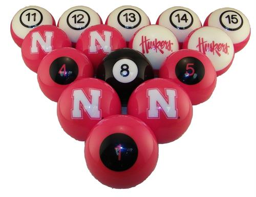 Nebraska Cornhuskers Huskers Logo Numbered Pool Balls