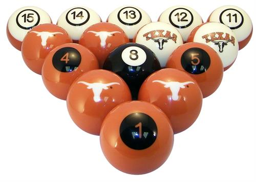 Texas Longhorns Numbered Pool Balls