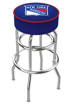 New York Rangers Double Ring Swivel Bar Stool