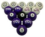 TCU Horned Frogs Numbered Pool Balls