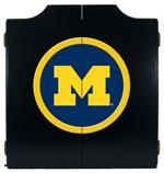 Michigan Wolverines Black Dart Board Cabinet